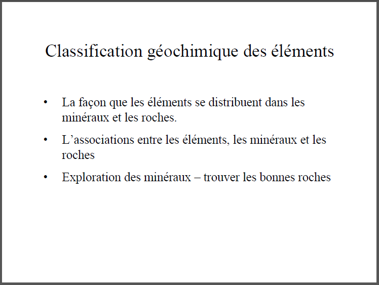 Classification géochimique des éléments